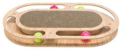 Trixie - Trixie Kedi Karton ve Ahşap Tırmalama, Kediotlu ve Oyun Toplu, 46x4x25cm