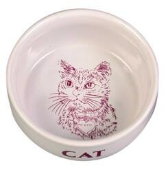 Trixie - Trixie Kedi Seramik Mama / Su Kabı 0,3 Lt / 11 cm Beyaz