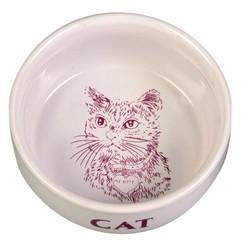 Trixie - Trixie Kedi Seramik Mama/Su Kabı 0,3Lt/11cm Beyaz