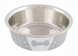 Trixie - Trixie Köpek Mama Su Kabı, Paslanmaz Çelik / Silikon, 0,4 lt / 14 cm, Beyaz / Gri