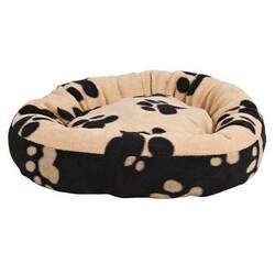Trixie - Trixie Köpek Yatağı 70 cm Pati Desenli Siyah - Bej