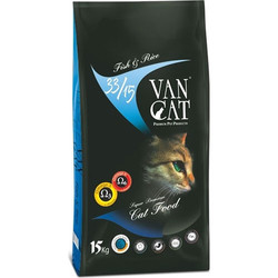 VanCat - Vancat Adult Balıklı ve Pirinçli Yetişkin Kedi Maması 15 Kg+10 Adet Temizlik Mendili
