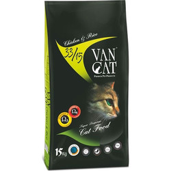 VanCat - Vancat Adult Tavuklu ve Pirinçli Yetişkin Kedi Maması 15 Kg + 10 Adet Temizlik Mendili