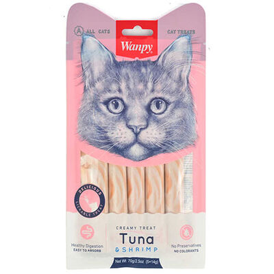 Wanpy Ton Balık ve Karidesli Likit Creamy Kedi Ödülü 5 x 14 Gr