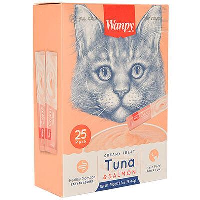 Wanpy Ton Balık ve Somonlu Likit Creamy Kedi Ödülü 25 x 14 Gr