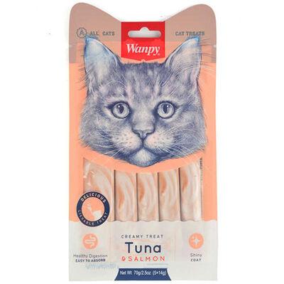 Wanpy Ton Balık ve Somonlu Likit Creamy Kedi Ödülü 5 x 14 Gr
