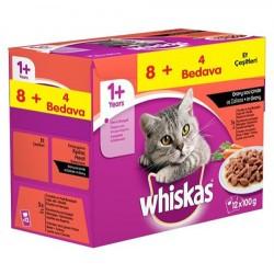 Whiskas - Whiskas Pouch Etli Seçenekler Yaş Kedi Maması 100 Gr 8+4 Adet (Ekonomik Paket)