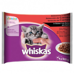 Whiskas - Whiskas Pouch Junior Et Çeşitleri Kedi Yaş Maması 100 Grx4 Adet