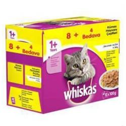 Whiskas - Whiskas Pouch Kümes Hayvanlı Yaş Kedi Maması 100 Gr 8+4 Adet (Ekonomik Paket)