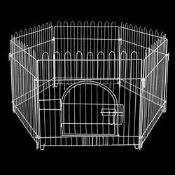 Zampa - Zampa Beyaz Metal Köpek Çiti 75x70 Cm