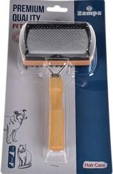 Zampa - Zampa ZT0081 Ahşap Çift Taraflı Yumuşak Uçlu Kedi ve Köpek Fırçası 17.5 x 10 Cm