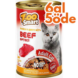 Zoo Smart - Zoo Smart Beef Biftekli Parça Etli ve Soslu Kedi Konservesi 400 Gr - 6 Al 5 Öde