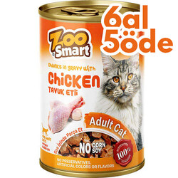 Zoo Smart - Zoo Smart Chicken Tavuk Etli Parça Etli ve Soslu Kedi Konservesi 400 Gr - 6 Al 5 Öde
