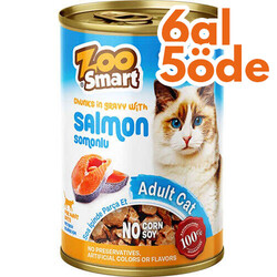 Zoo Smart - Zoo Smart Salmon Somonlu Parça Etli ve Soslu Kedi Konservesi 400 Gr - 6 Al 5 Öde