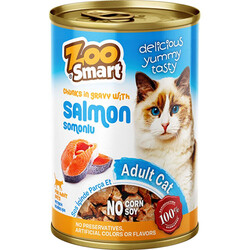 Zoo Smart - Zoo Smart Salmon Somonlu Parça Etli ve Soslu Kedi Konservesi 400 Gr