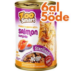 Zoo Smart - Zoo Smart Salmon Sterilised Somonlu Kısırlaştırılmış Kedi Konservesi 400 Gr - 6 Al 5 Öde
