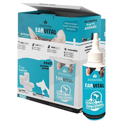 Zoo Vital - Zoo Vital Ear Vital Kedi ve Köpek Kulak Temizleme Seti (150 ML Solisyon+Pamuk)